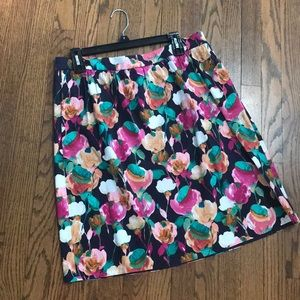 J Crew floral skirt with pockets.